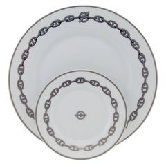 Set of 8 HERMES Place Settings in Chaine D'Ancre in Gray