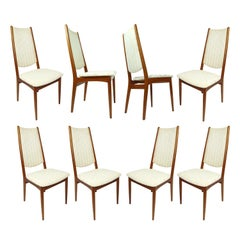Set of 8 High Back Danish Teak Dining Chairs in Cream Color Fabric