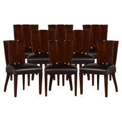 Set of 8 Hollywood Ralph Lauren Leather Dining Chairs