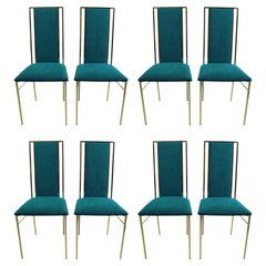 Set of 8 Hollywood Regency Brass and Velvet Dinning Chairs, 1970s, Italy