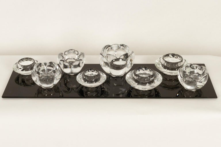 Set of 8 Holmegaard glass candleholders, 1980s Set of four