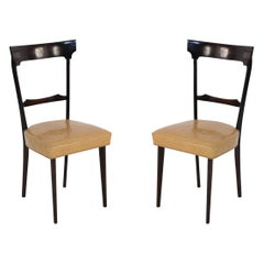 Set of 8 Ico Parisi Italian Mid-Century Mahogany Framed Dining Chairs