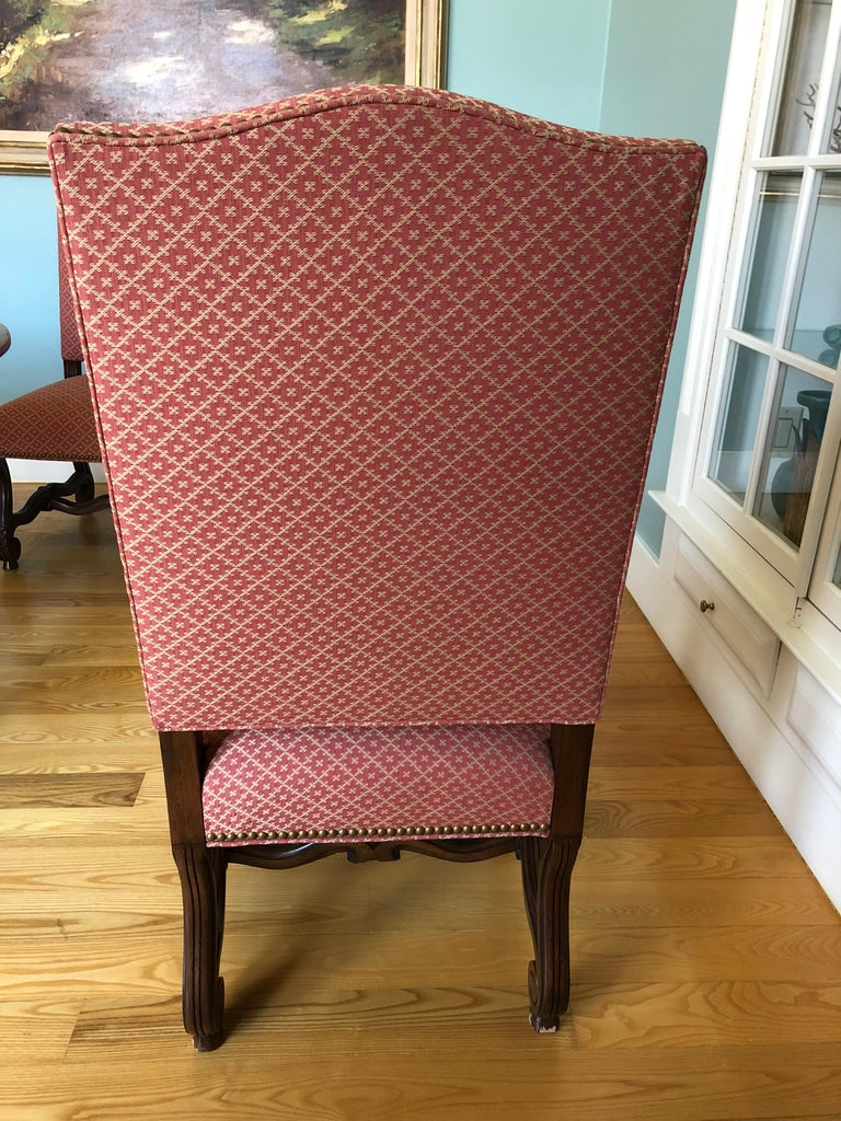 Set of 8 Impressive Carved Wood and Upholstered Chippendale Style Dining Chairs For Sale 6