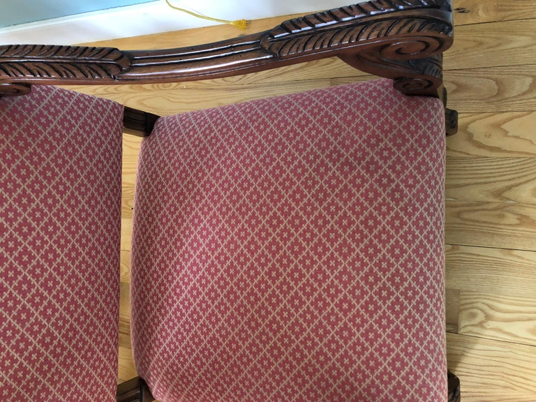 Set of 8 Impressive Carved Wood and Upholstered Chippendale Style Dining Chairs For Sale 12
