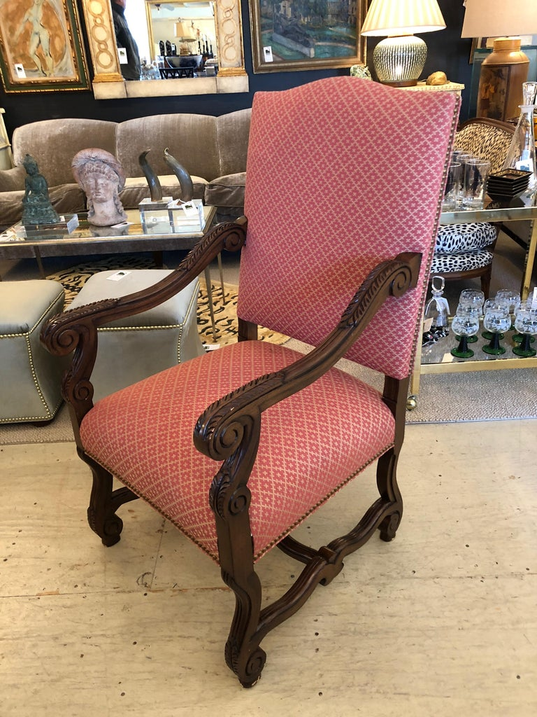 American Set of 8 Impressive Carved Wood and Upholstered Chippendale Style Dining Chairs For Sale