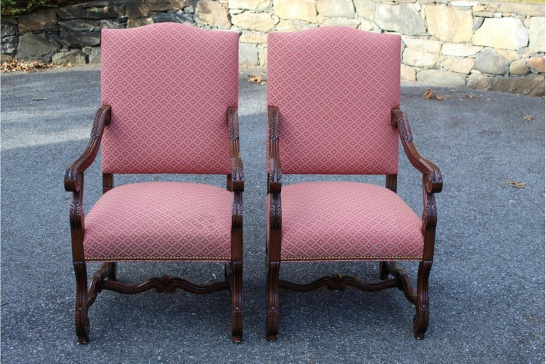Set of 8 Impressive Carved Wood and Upholstered Chippendale Style Dining Chairs In Good Condition For Sale In Hopewell, NJ