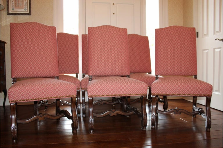 Contemporary Set of 8 Impressive Carved Wood and Upholstered Chippendale Style Dining Chairs For Sale