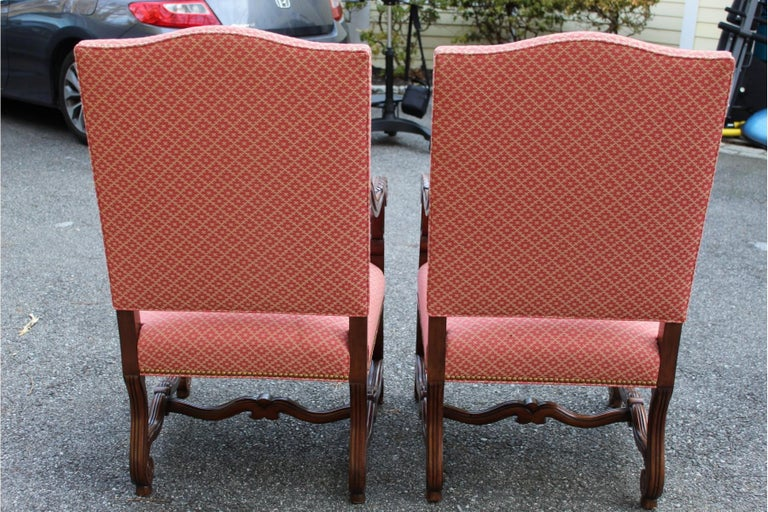 Upholstery Set of 8 Impressive Carved Wood and Upholstered Chippendale Style Dining Chairs For Sale
