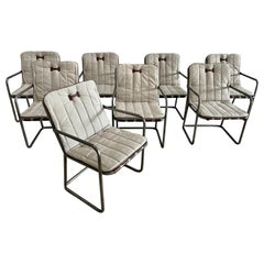 Set of 8 Industrial Metal Chairs with Leather Strap Frame + Canvas Cushions