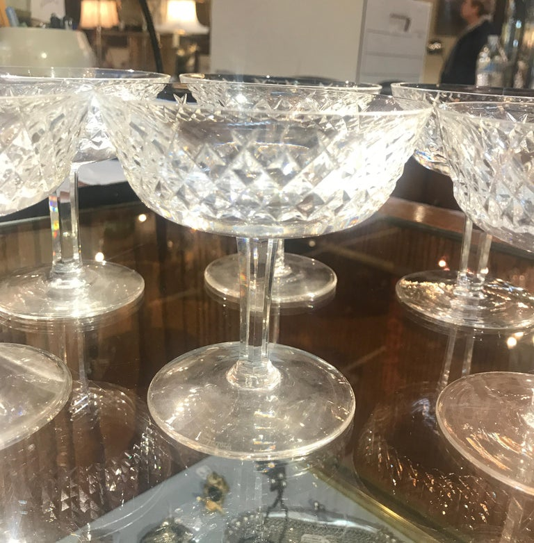 Set of 8 Irish Cut Crystal Champagne Coupes For Sale 8