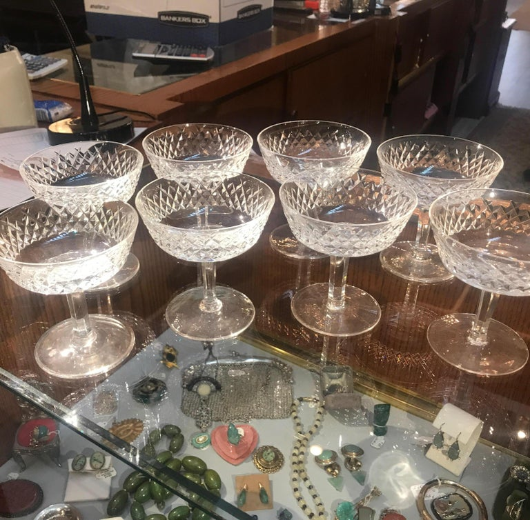 Set of 8 Irish Cut Crystal Champagne Coupes In Excellent Condition For Sale In Lambertville, NJ