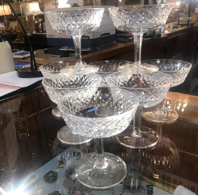 Late 20th Century Set of 8 Irish Cut Crystal Champagne Coupes For Sale