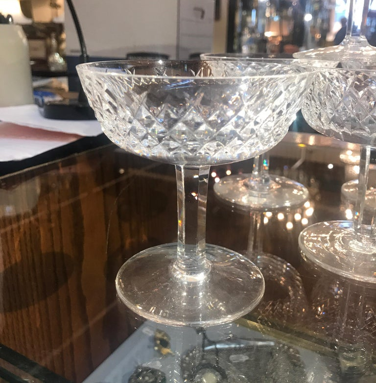 Set of 8 Irish Cut Crystal Champagne Coupes For Sale 1