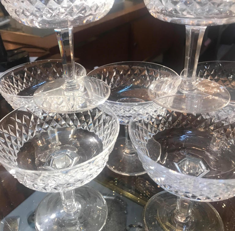 Set of 8 Irish Cut Crystal Champagne Coupes For Sale 3