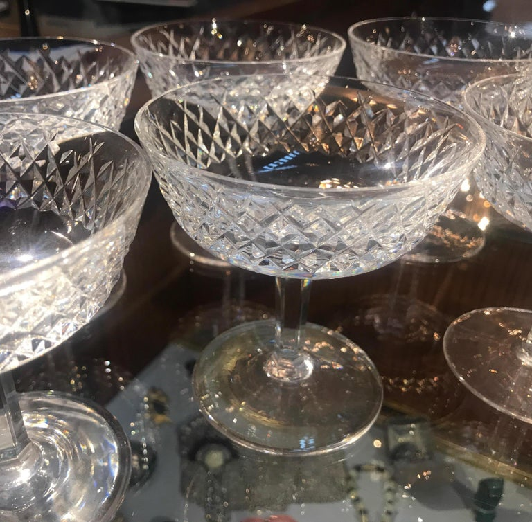 Set of 8 Irish Cut Crystal Champagne Coupes For Sale 4