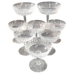 Set of 8 Irish Cut Crystal Champagne Coupes