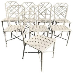 Set of 8 Iron Bamboo Chipendale Style Garden Chairs