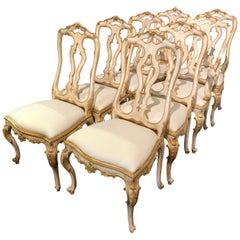 Set of 8 Italian Carved Parcel Gilt Upholstered Dining Chairs