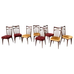 Set of 8 Italian Dining Chairs in the Style of Gio Ponti