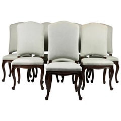 Set of 8 Italian Louis XV Style Dining Chairs, 19th Century