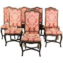 Set of 8 Italian Made French Louis XV Style Walnut Dining Side Chairs