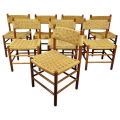 Set of 8 Italian Midcentury Rope Chair