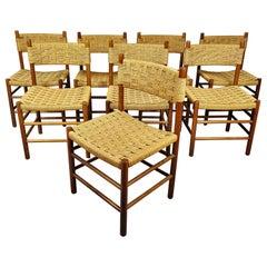 Set of 8 Italian Midcentury Rope Chair