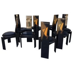 Set of 8 Italian Post Modern Design Dining Chairs by Pietro Costantini
