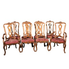 Set of 8 Italian Provincial Style Walnut Dining Chairs, C1950