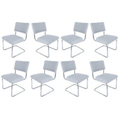Set of 8 Italian Tubular Chrome Dining Chairs, New Upholstery and Cantilevered