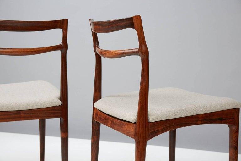 Scandinavian Modern Set of 8 Johannes Andersen Rosewood Dining Chairs, 1960s For Sale