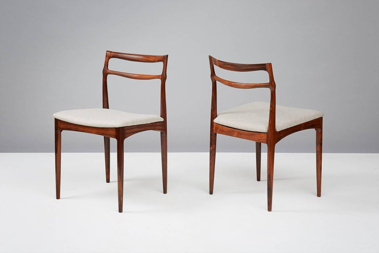 Danish Set of 8 Johannes Andersen Rosewood Dining Chairs, 1960s For Sale