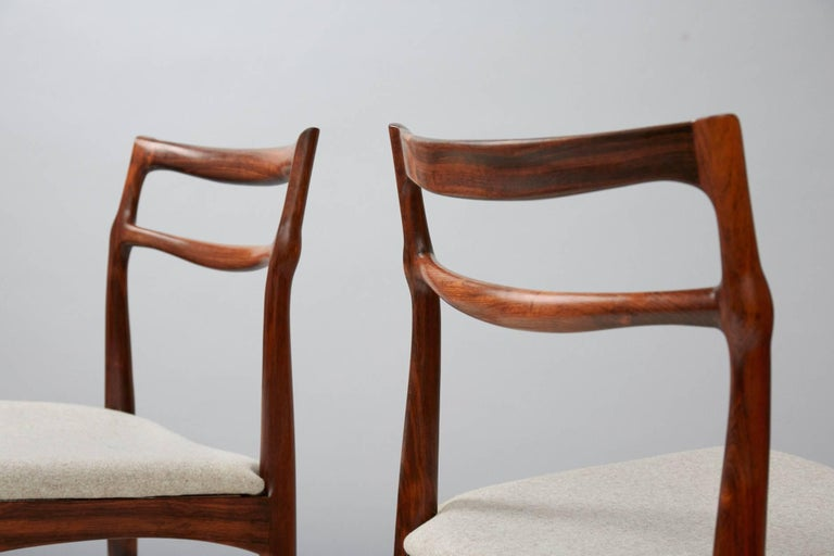 Set of 8 Johannes Andersen Rosewood Dining Chairs, 1960s In Excellent Condition For Sale In London, GB