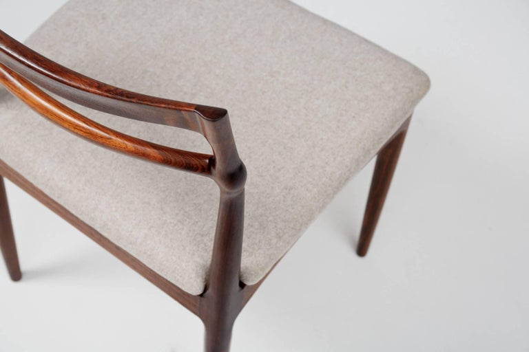 Wool Set of 8 Johannes Andersen Rosewood Dining Chairs, 1960s For Sale