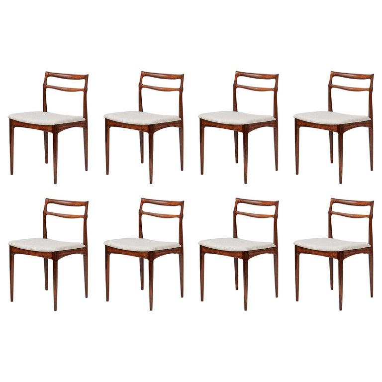 Set of 8 Johannes Andersen Rosewood Dining Chairs, 1960s For Sale