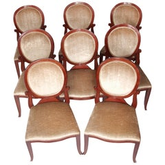 "Set of 8 ""John Widdicomb"" Signed Round Back Upholstered Chairs"