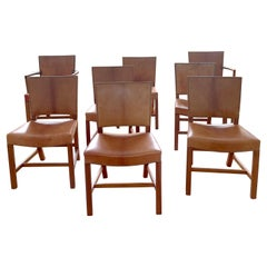 Set of 8 Kaare Klint Red Chairs, Niger Leather, Mahogany