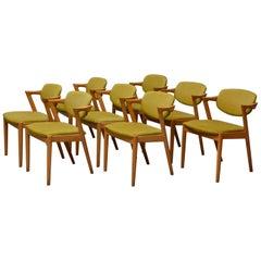 Set of 8 Kai Kristiansen Chair Oak Model 42, Produced by Schou Andersen Møbelfa