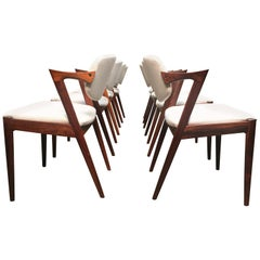 Set of 8 Kai Kristiansen Model 42 Dining Chairs in Rosewood