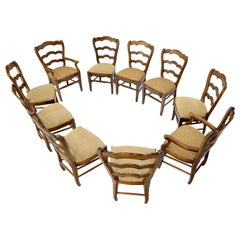 Set of 8 Ladder Back Colonial Spanish Side Dining Chairs by Henredon