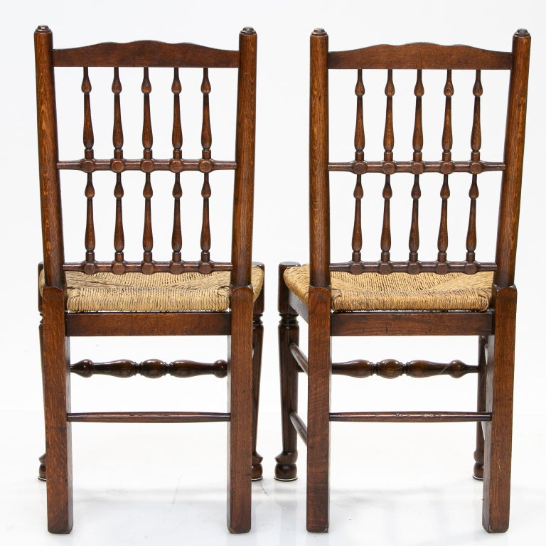 English Set of 8 Lancashire Dining Chairs For Sale