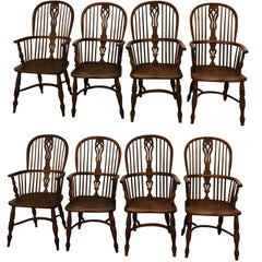 Set of 8 Late 18th-Early 19th Century Yew Wood Dining Chairs