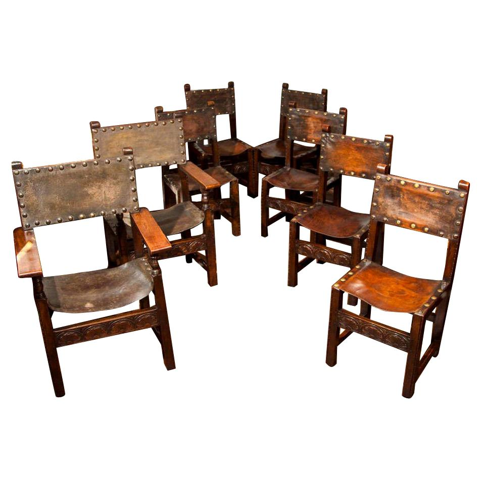 Set of 8 Leather Jacobean Revival Chairs
