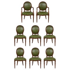 Set of 8 Leather-Upholstered Mahogany Dining Chairs in the Georgian Manner