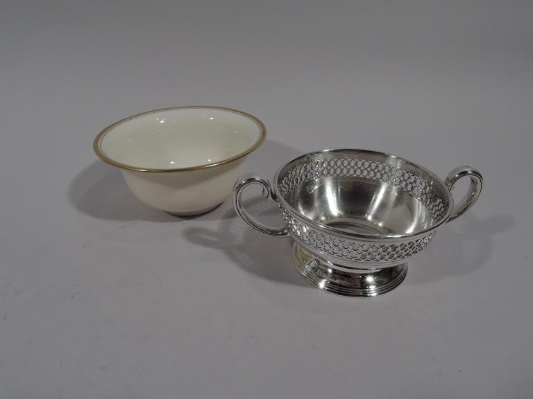 Set of 8 Lenox Porcelain Bouillon Bowls in Tiffany Sterling Silver Holders For Sale 1