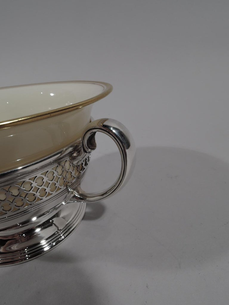 Set of 8 Lenox Porcelain Bouillon Bowls in Tiffany Sterling Silver Holders For Sale 2