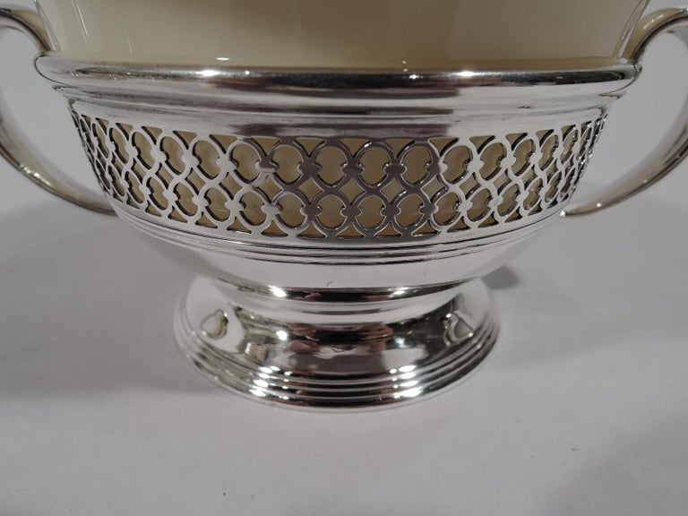 Set of 8 Lenox Porcelain Bouillon Bowls in Tiffany Sterling Silver Holders For Sale 3