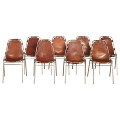 Set of 8 'Les Arcs' Chairs Selected by Charlotte Perriand, France / Italy, 1970s