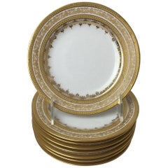 Set of 8 Limoges Gold Encrusted Bread and Butter Plates