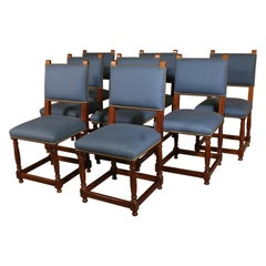 Set of 8 Louis XIII Style Chairs in Walnut
